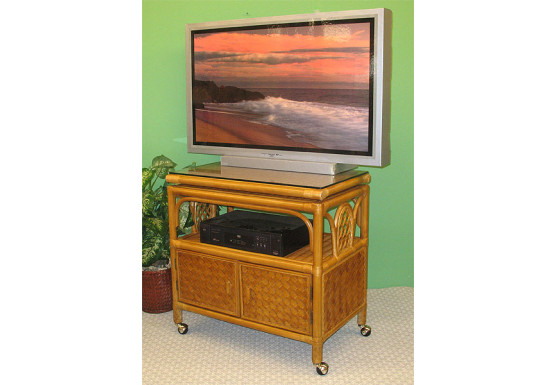 Venetian Rattan TV Stand with Swivel Top, Glass and Castors - CARAMEL