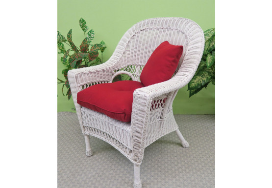 Vineyard Natural Wicker Chair, White - WHITE