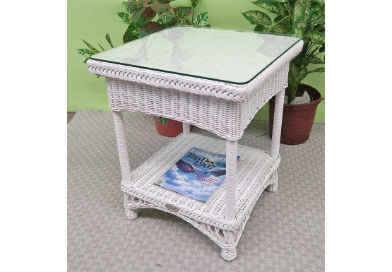 Whitl Wicker End Table & Glass Vineyard Style  - WHITE