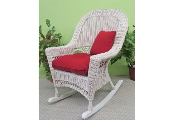 White Vineyard Natural Wicker Rocking Chair - WHITE