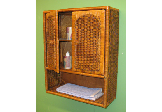 Wicker Wall Cabinet, Tea Wash - Wicker Wall Cabinet, Tea Wash