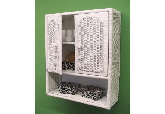 Wicker Wall Cabinet, White - Wicker Wall Cabinet, White