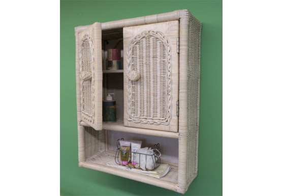 Wicker Wall Cabinet, White Wash - Wicker Wall Cabinet, White Wash