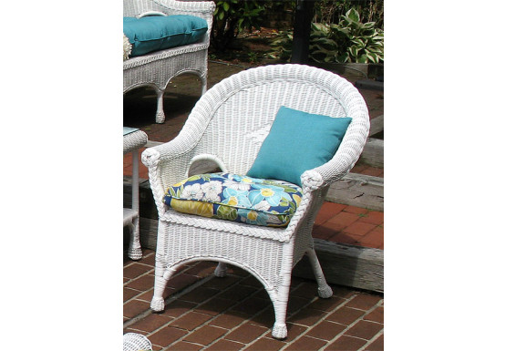 Diamond Rattan Framed Natural Wicker Chair - WHITE