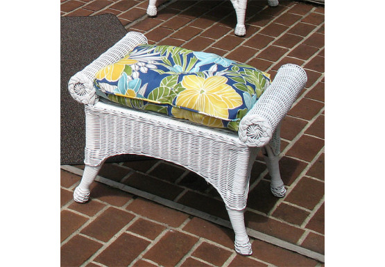 Natural Wicker Bench or Ottoman, Diamond Style  - WHITE
