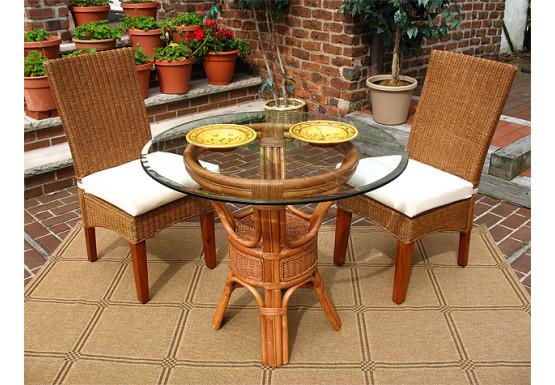 3 Piece Signature Wicker Dining Set, White, White Wash or Brown - TEAWASH