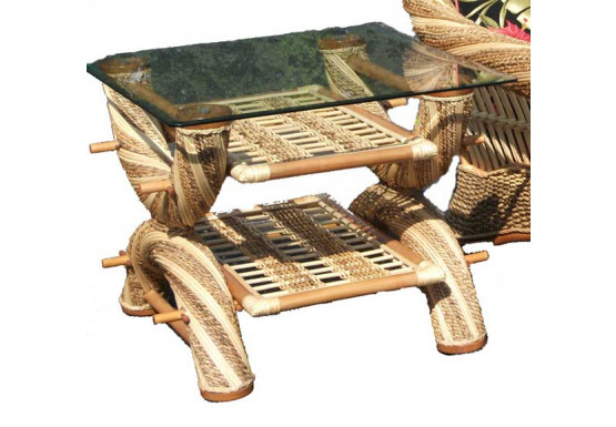 Countryside Twist Rattan Framed Natural Wicker End Table - NATURAL
