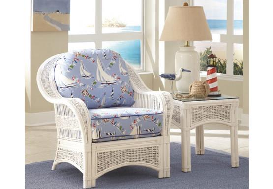Fiji Rattan Framed Indoor Wicker Chair - WHITE