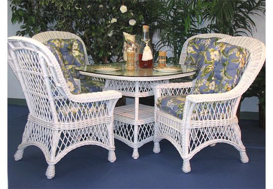 "5 Piece Harbor Beach Wicker Dining Set 48"" Square Round - WHITE"