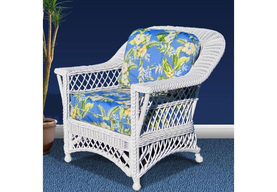 Harbor Beach Rattan Framed Natural Wicker Chair - WHITE