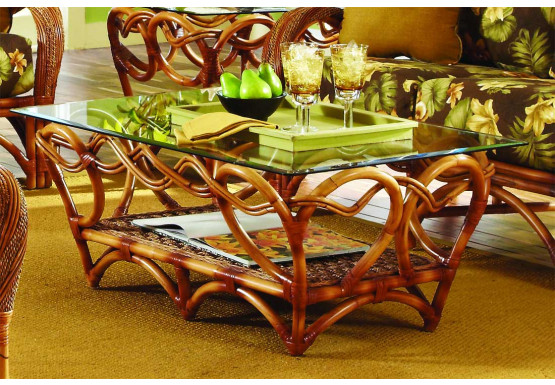 Java Twist Rattan Framed Natural Wicker Cocktail Table  - COCOA
