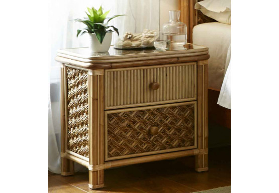 Nassau 2-Drawer Night Stand with Glass Top - NATURAL