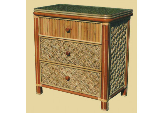 Nassau 3-Drawer Dresser with Glass Top - NATURAL