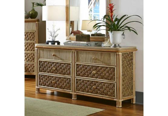 Nassau 6 Drawer Dresser with Glass Top - NATURAL