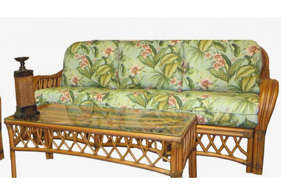 Old Town Natural Rattan Sofa with Cushions - CINNAMON