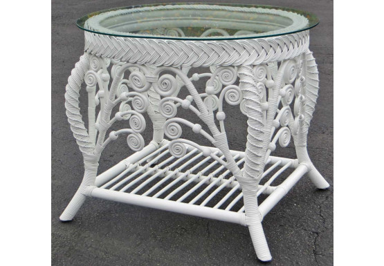Victorian Wicker End Table  - WHITE
