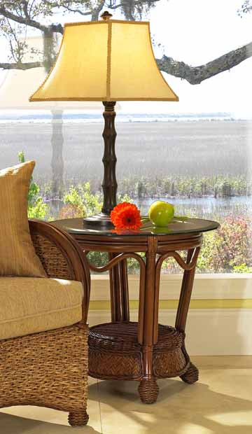Casa Blanca Round Rattan End Table, Casa Blanca Furniture