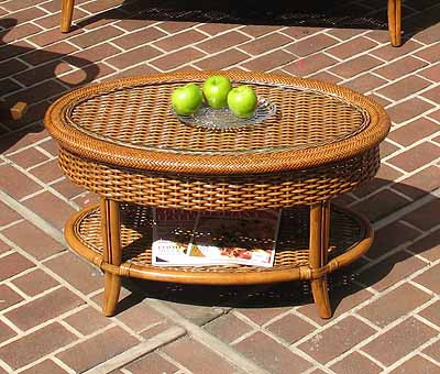 Tangiers Oval Wicker Cocktail Table With Glass Top