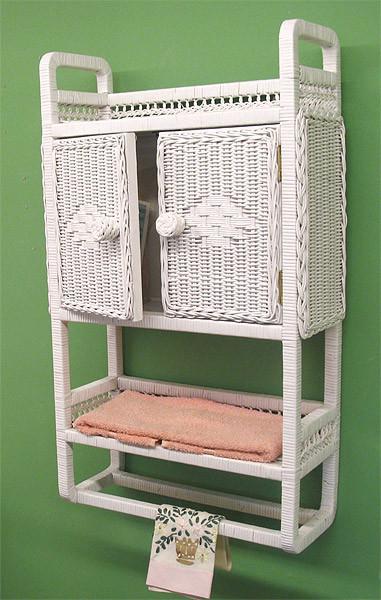 Wicker Bath Cabinet With Towel Bar, White Wicker Bathroom Cabinet