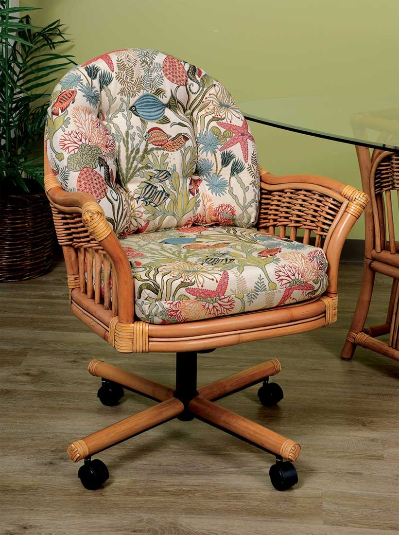 Manchester Rattan Tilt Swivel Dining Chair With Casters