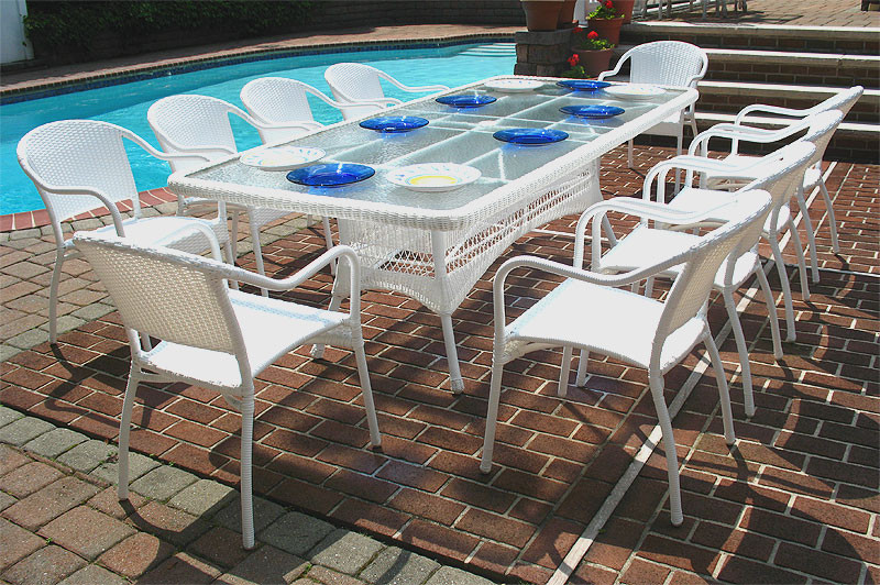96 X 42 Rectangular Resin Wicker Dining, No Cushion Outdoor Furniture