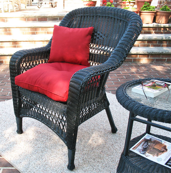 Belair Resin Wicker Chair With Cushion, Resin Wicker Furniture