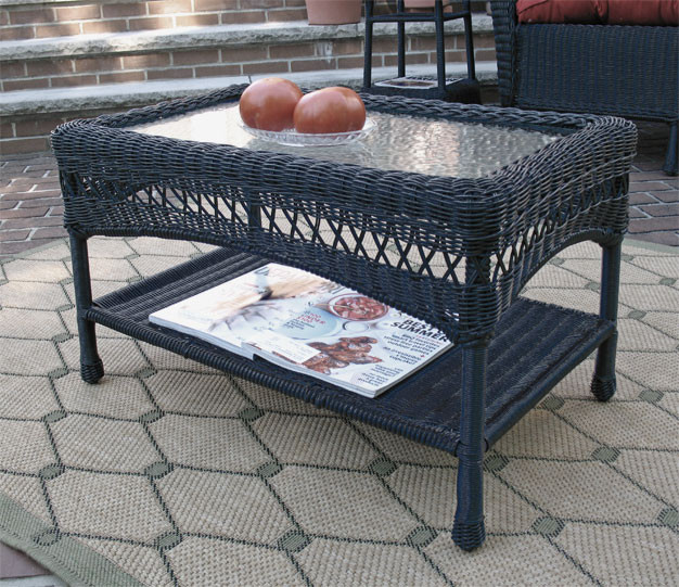 Black Wicker Coffee Table: Belaire Resin Wicker Cocktail Or Coffee Table