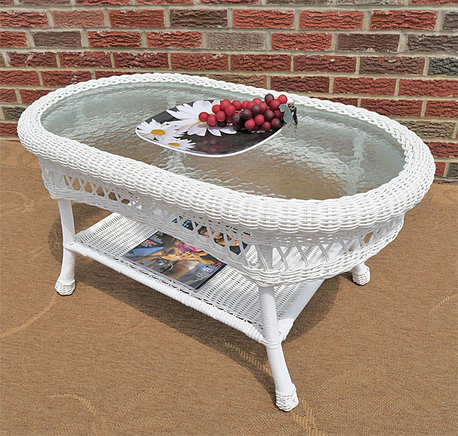 Belaire Resin Wicker Oval Tail Or Coffee Table With Gl Top