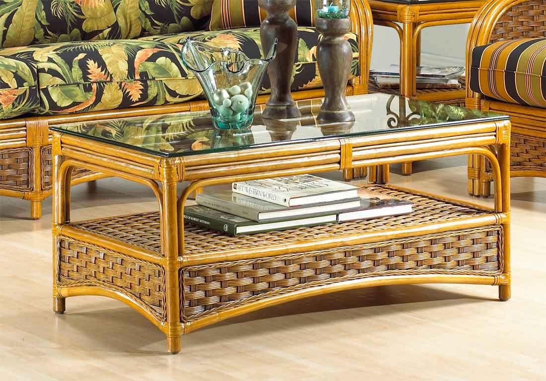 Portofino Rattan Coffee Table With Ogee Gl Top Not Sold Alone