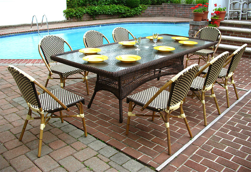 96 X 42 Rectangular Resin Dining Set, Outdoor Patio Table And Chairs With Umbrella Hole