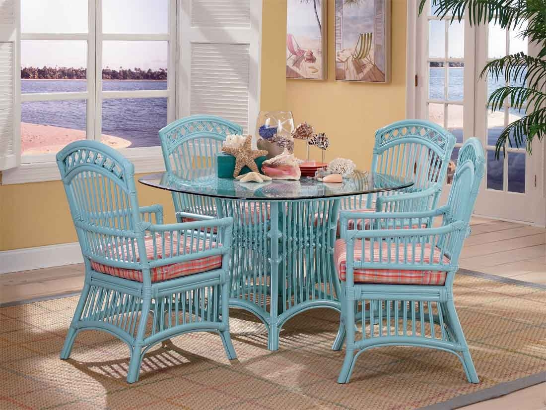 Cottage Rattan Dining Set With 4 Arm Chairs, Wicker Dining Room Chairs Indoor