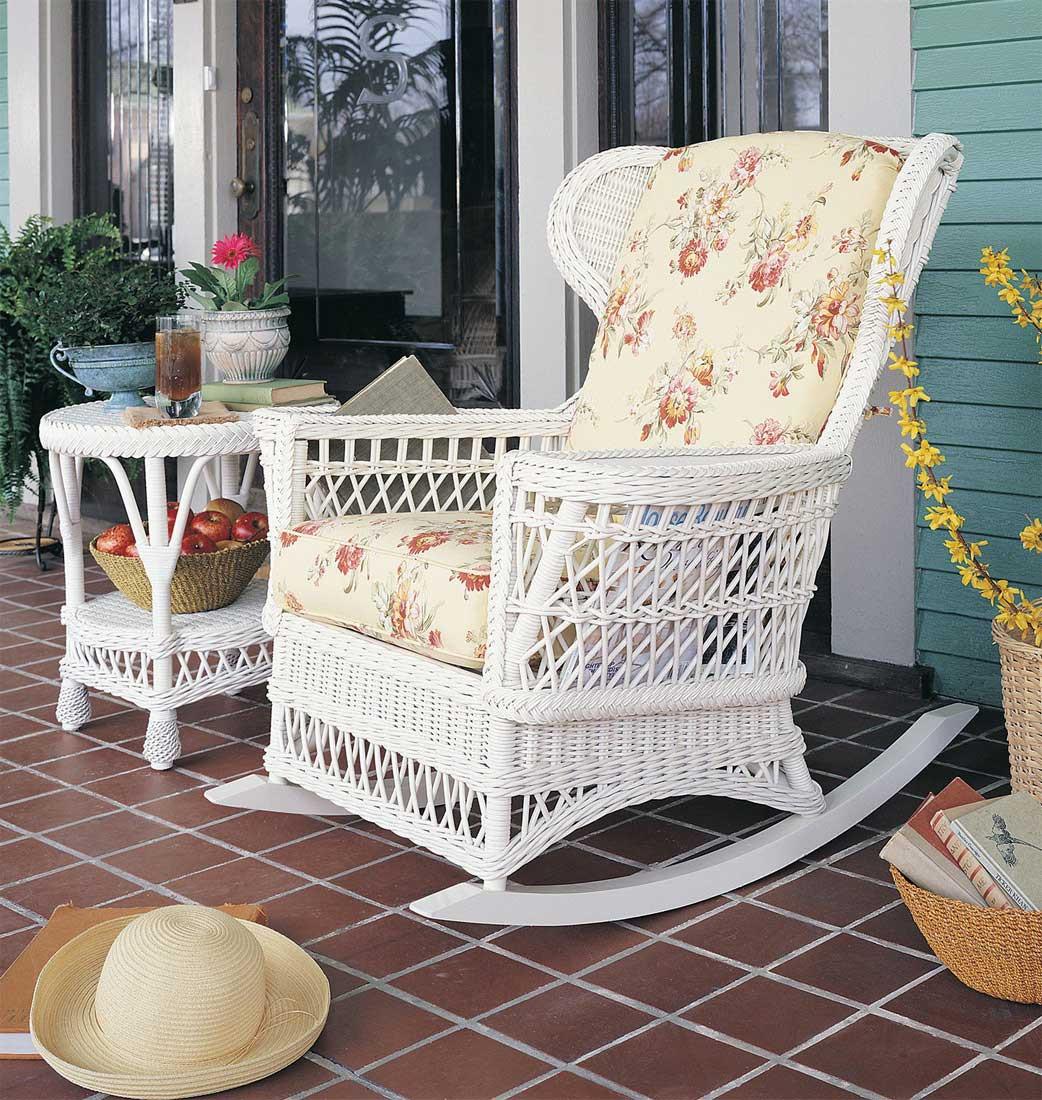 Vintage Natural Wicker Rocking Chair