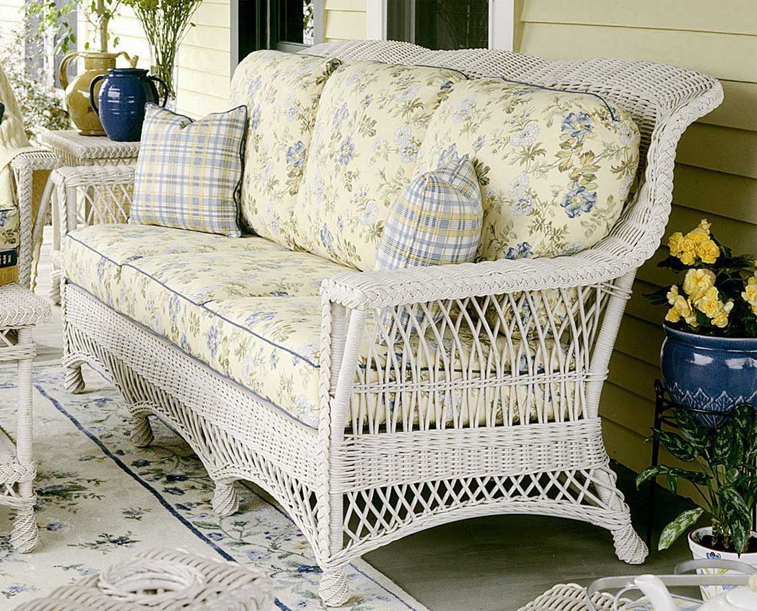 Outdoor Patio Couch Set, Lancaster Natural Wicker Sofa High Back