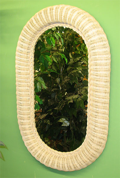 Medium Extra Large Oval Wicker Mirror 34 High
