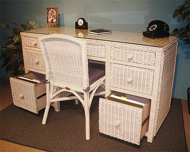 Traditional Double Wicker Desk W File Drawers Amp Chair