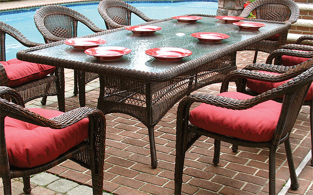 Resin Wicker Dining Table 96 Rectangle, 5 Piece Wicker Patio Dining Set With Umbrella Hole