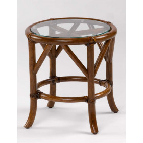 Rivera Round Rattan End Table with Glass To (Custom Finishes)