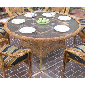 "Resin Wicker Dining Table 60"" Round"