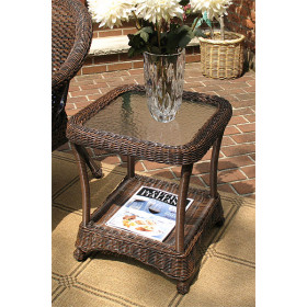 Veranda Resin Wicker End Table With Inset Glass Top
