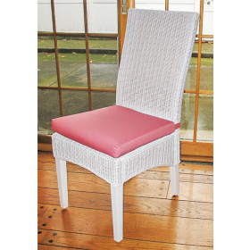 Wicker Dining Chair, Mahogany Wood Frame