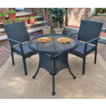 "Caribbean Resin Wicker Bistro Dining Set  30"" (2-Arm Chairs) - BLACK"
