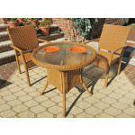 "Caribbean Resin Wicker Bistro Dining Set  30"" (2-Arm Chairs) - GOLDEN HONEY"