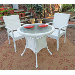 "Caribbean Resin Wicker Bistro Dining Set  30"" (2-Arm Chairs) - WHITE"