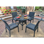 """Caribbean Resin Wicker Bistro Dining Set 36"""" Round (2-Arm 2-Side Chairs) - BLACK"""