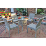 """Caribbean Resin Wicker Bistro Dining Set 36"""" Round (2-Arm 2-Side Chairs) - DRIFTWOOD"""