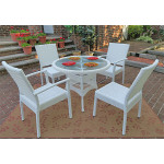 """Caribbean Resin Wicker Bistro Dining Set 36"""" Round (2-Arm 2-Side Chairs) - WHITE"""