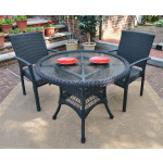 """Caribbean Resin Wicker Bistro Dining  Set 36"""" Round (2-Arm Chairs) - BLACK"""