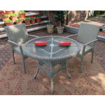 """Caribbean Resin Wicker Bistro Dining  Set 36"""" Round (2-Arm Chairs) - DRIFTWOOD"""