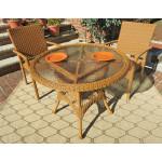 "Caribbean Resin Wicker Bistro Dining  Set 36"" Round (2-Arm Chairs) - GOLDEN HONEY"