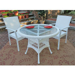 """Caribbean Resin Wicker Bistro Dining  Set 36"""" Round (2-Arm Chairs) - WHITE"""